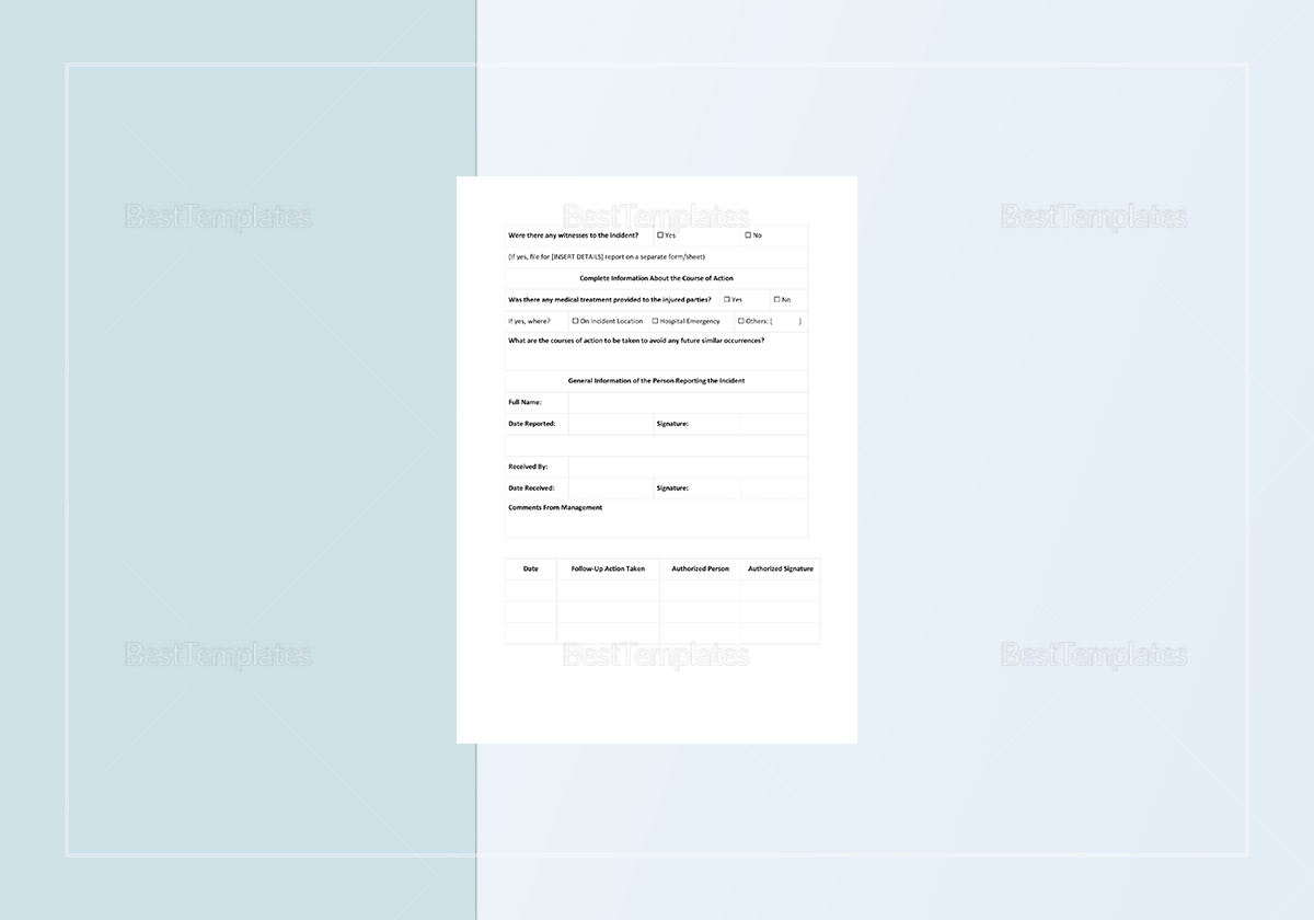 Sample Blank Incident Report Template