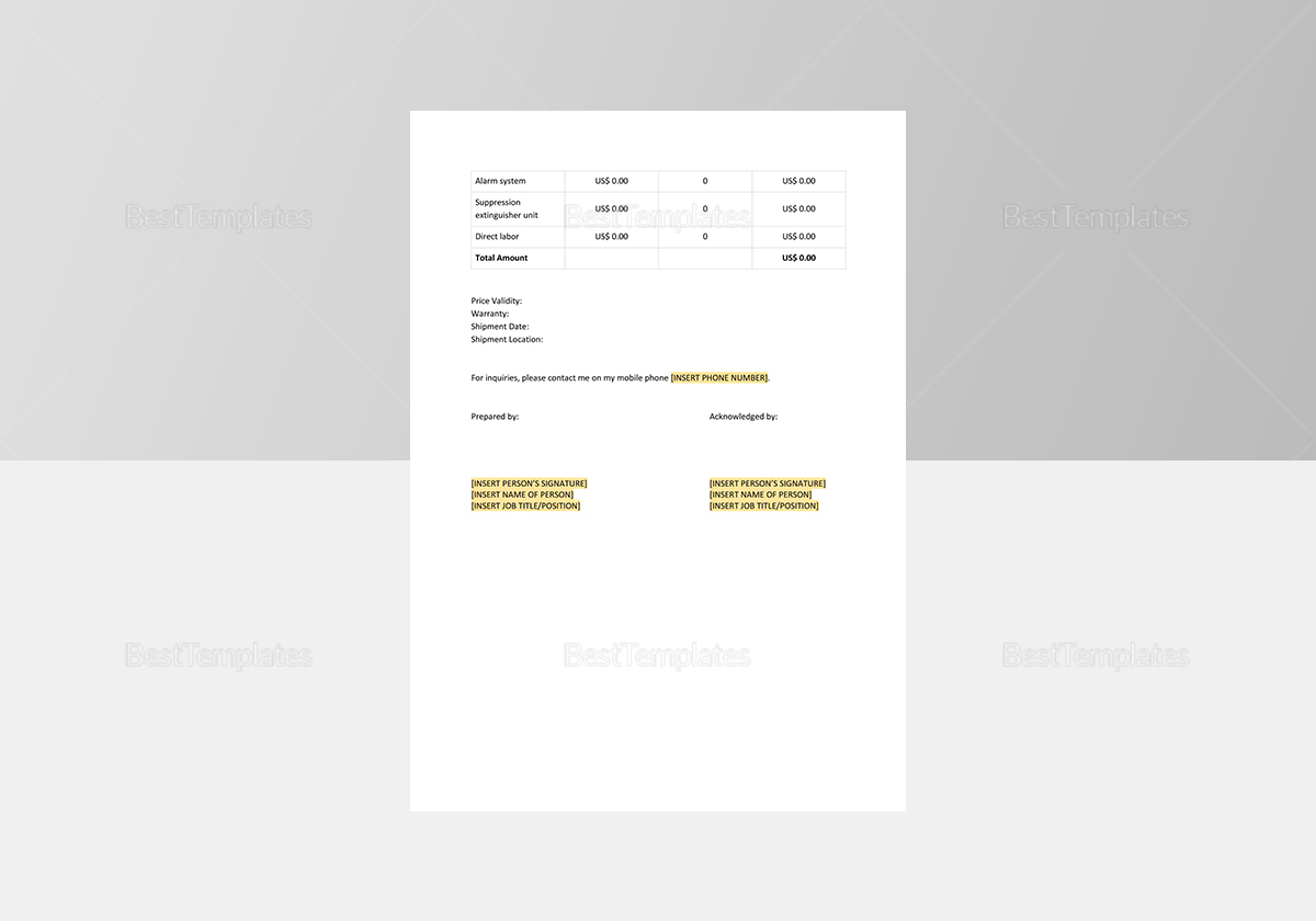 Sample Work Quotation Template