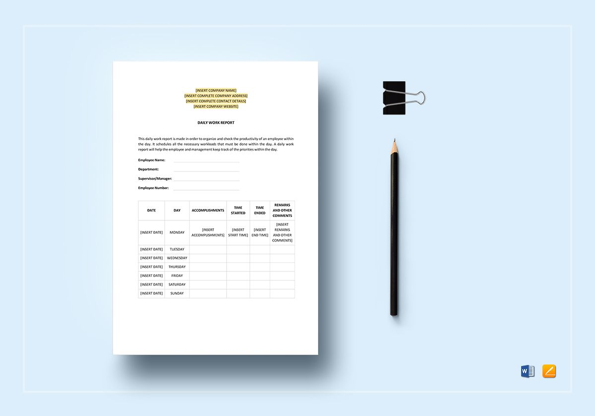 Daily Work Report Template
