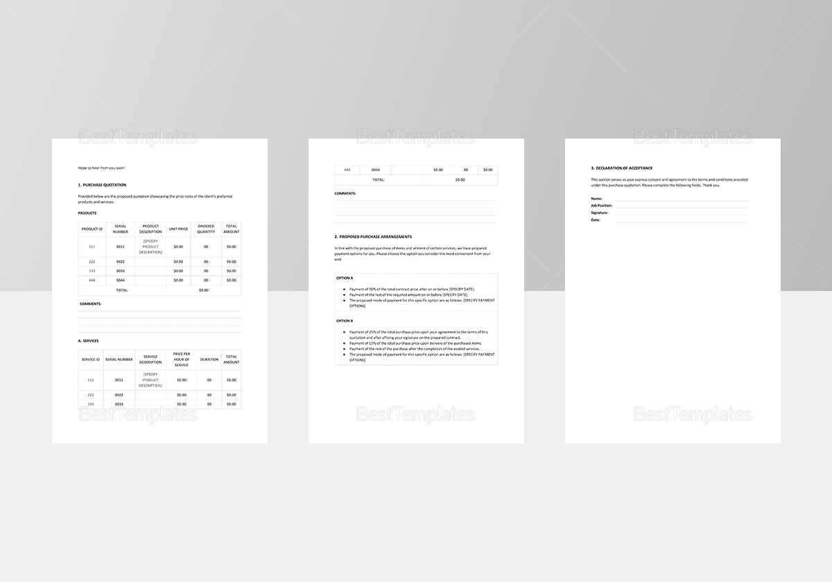 Sample Purchase Quotation Template