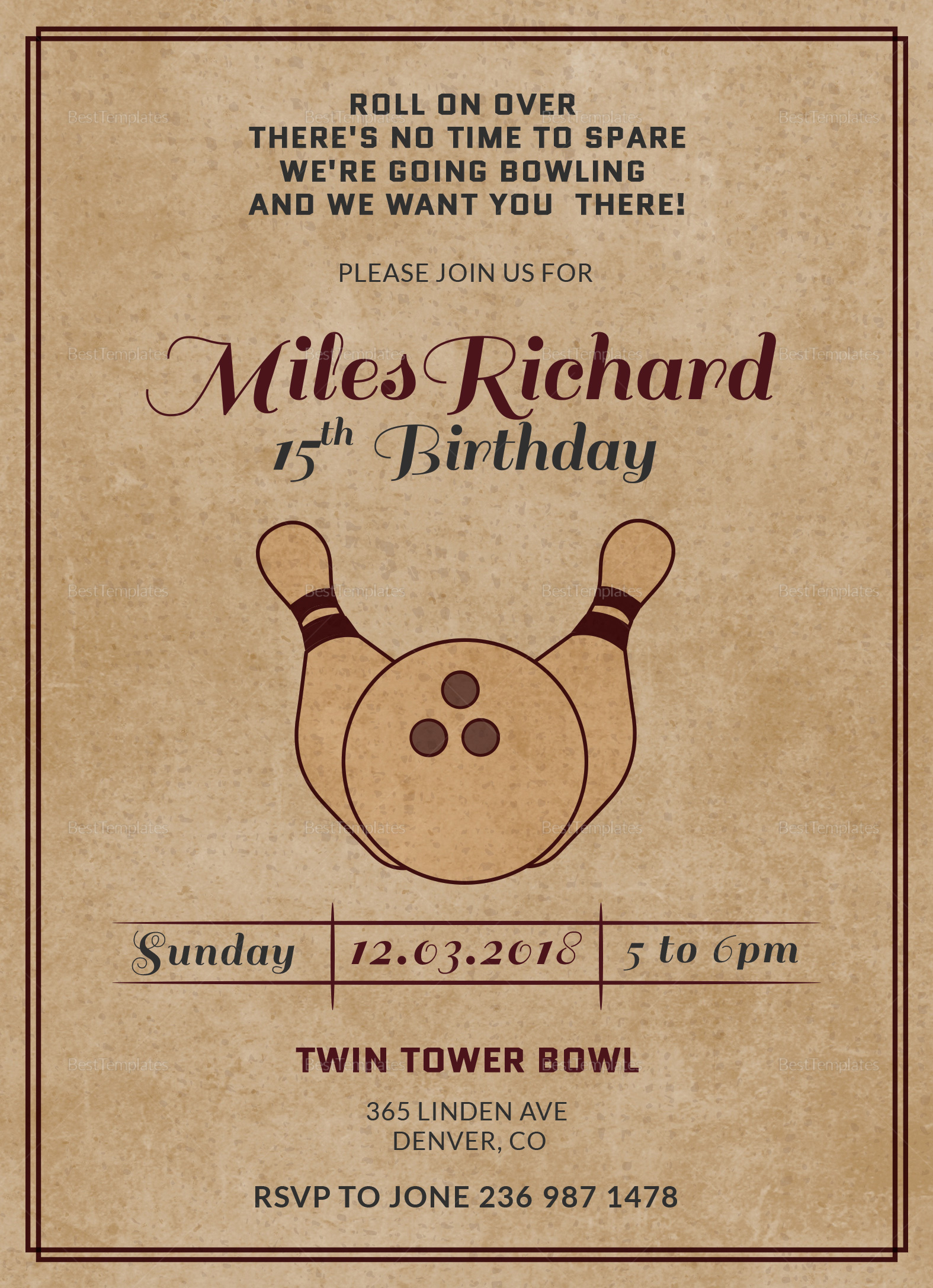 Bowling Birthday Party Invitation Card Design Template
