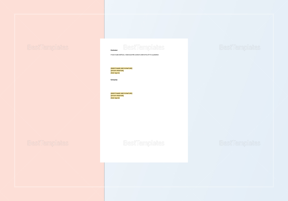 Sample Business Quotation Template