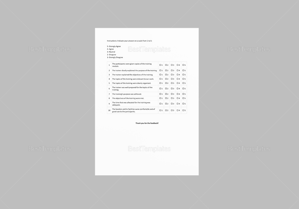 Sample Post Training Survey Template