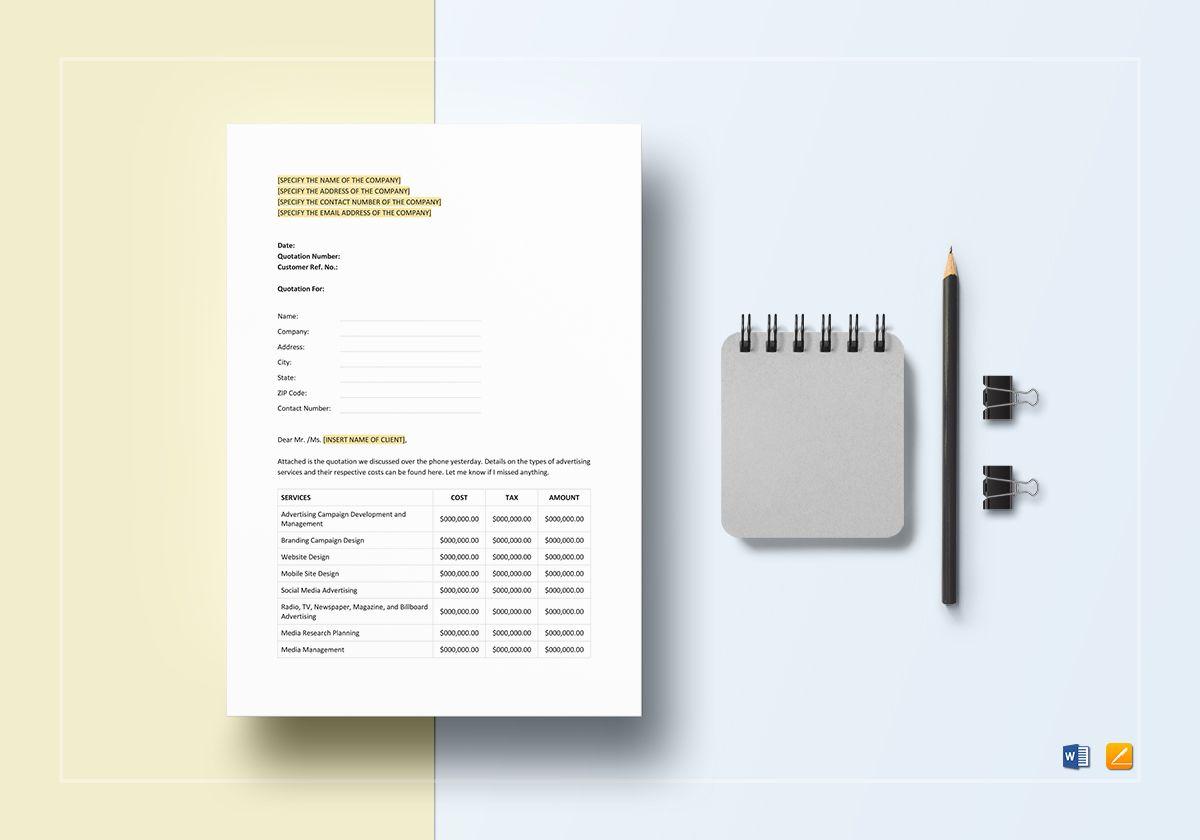 Advertising Quotation Template