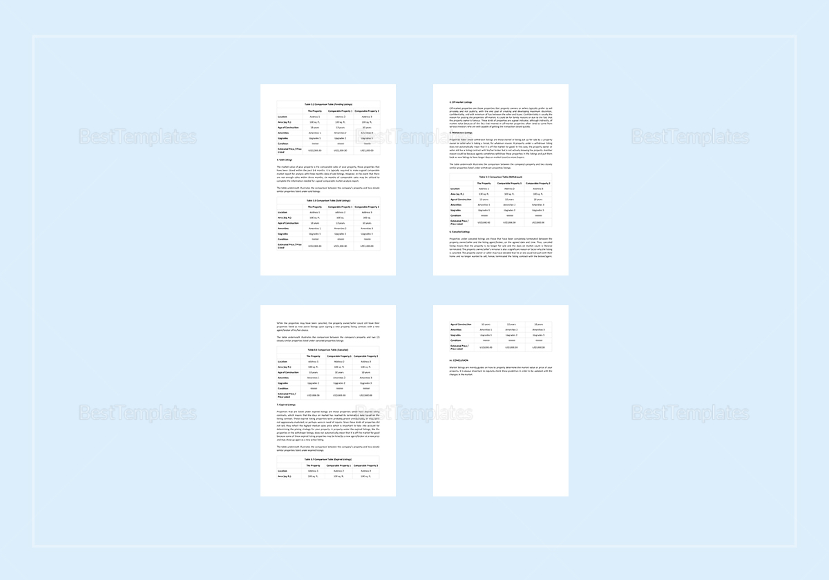 Comparative Market Analysis Template in Word, Apple Pages