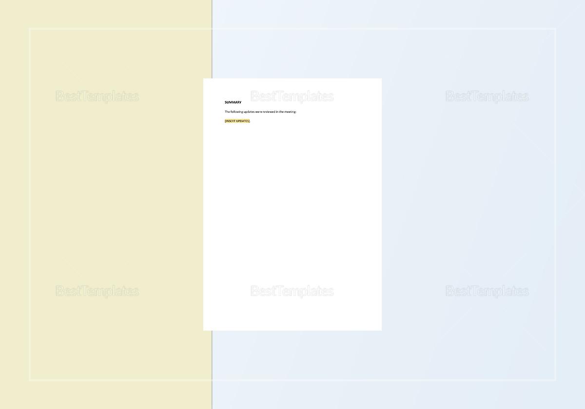 Sample Status Report Template
