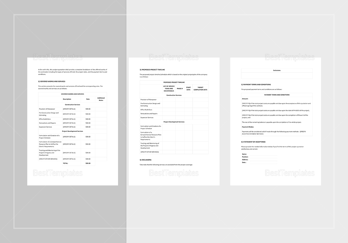 Sample Project Quotation Template
