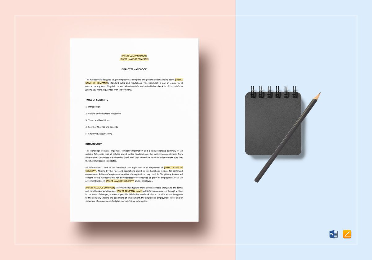 employee handbook template in word apple pages