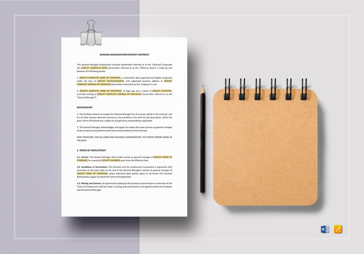General Manager Employment Contract