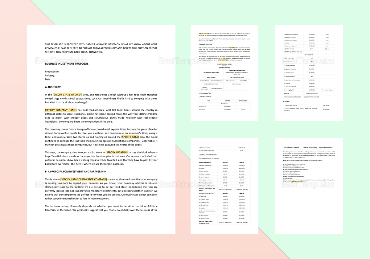 Business Investment Proposal Template In Word Apple Pages