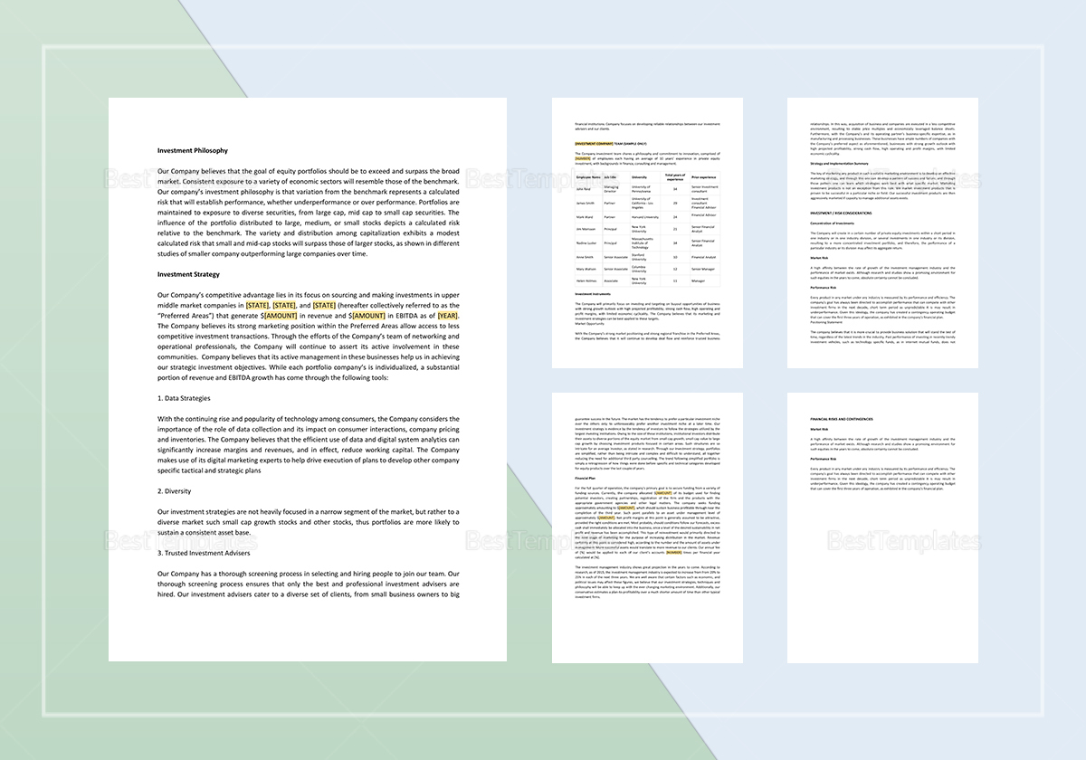 Private Equity Investment Memo Template