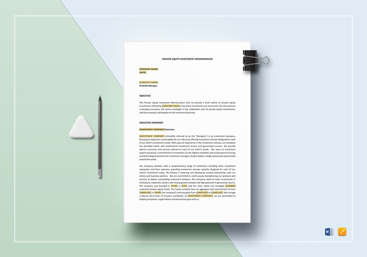 Private Equity Investment Memo Template in Word, Apple Pages