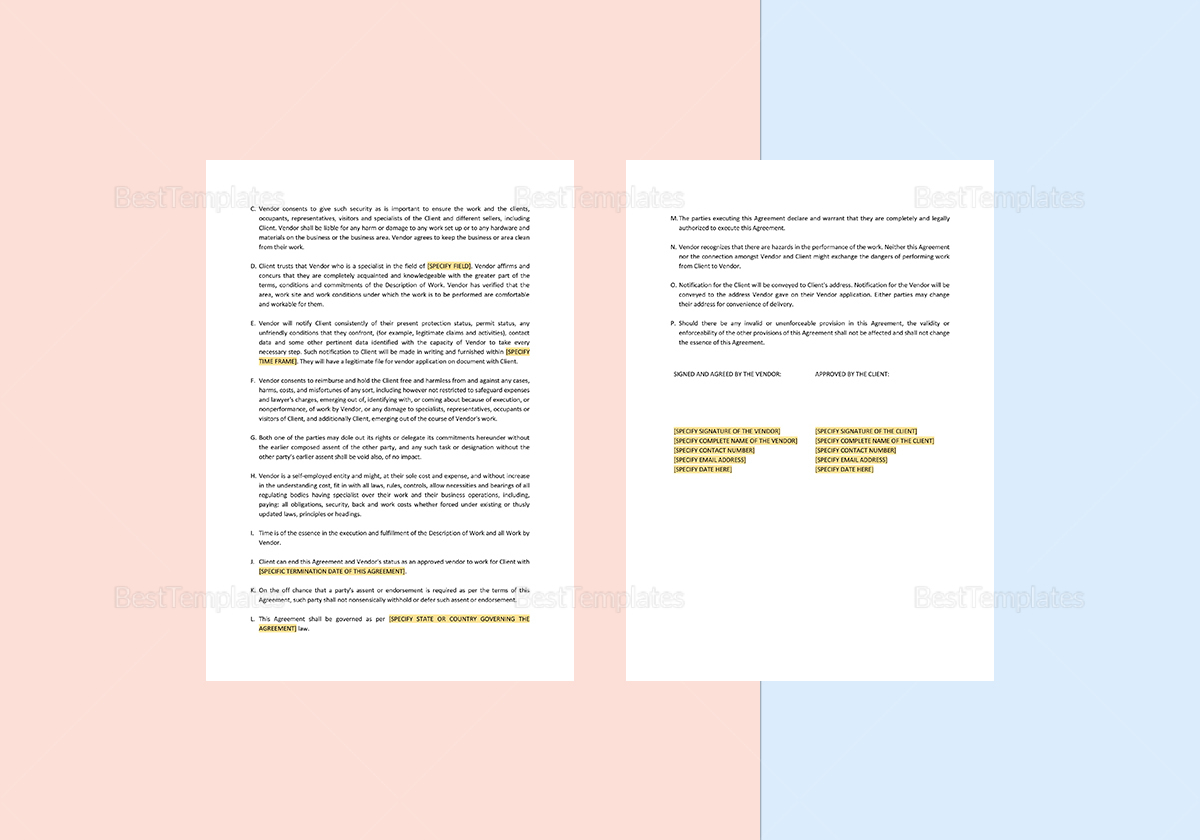 vendor service agreement template in word  apple pages