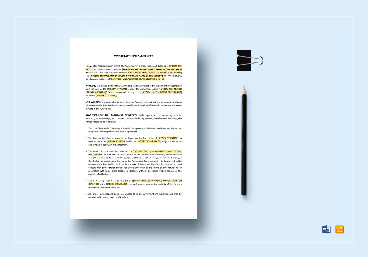 Vendor Partnership Agreement Template