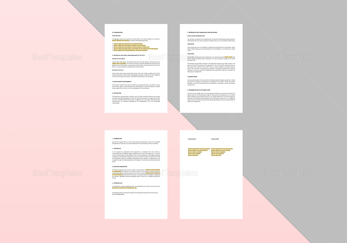 Sample Vehicle Payment Agreement Template