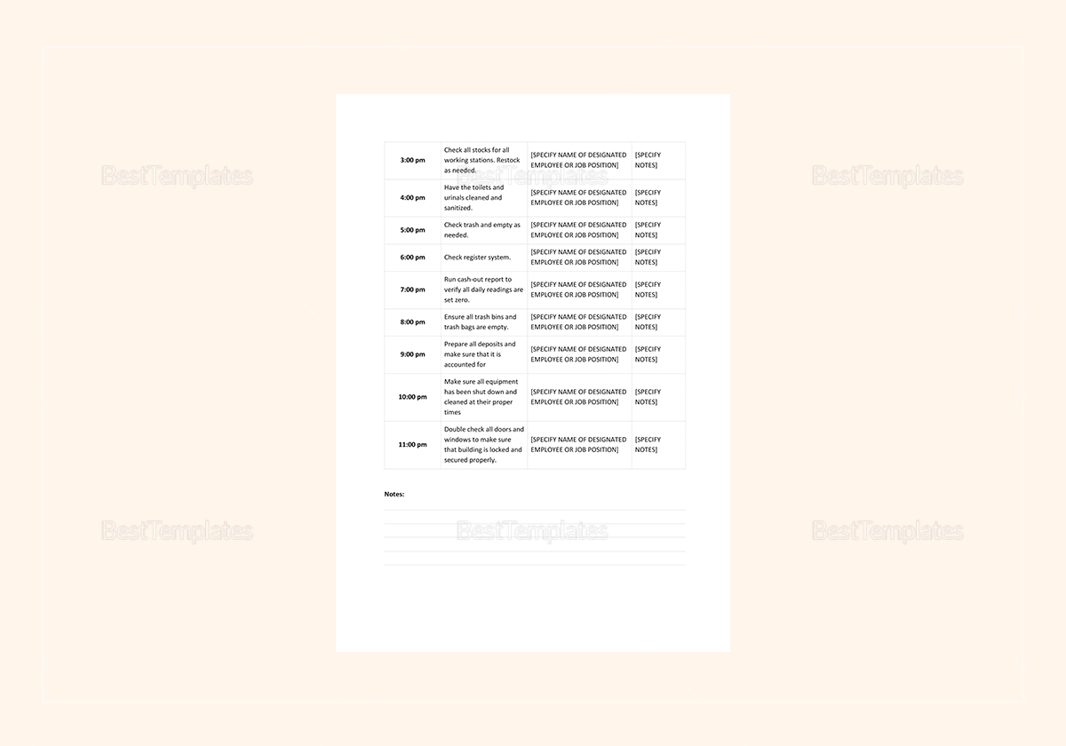 Sample Daily Planner Template