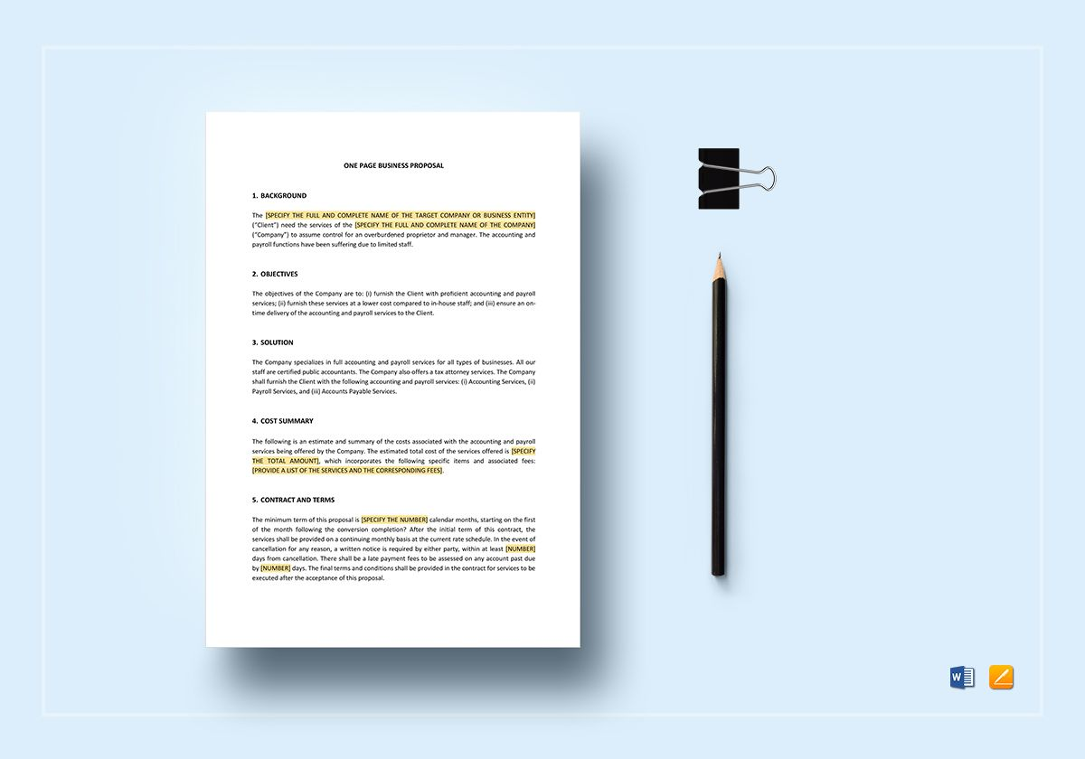 One Page Business Proposal Template In Word Apple Pages