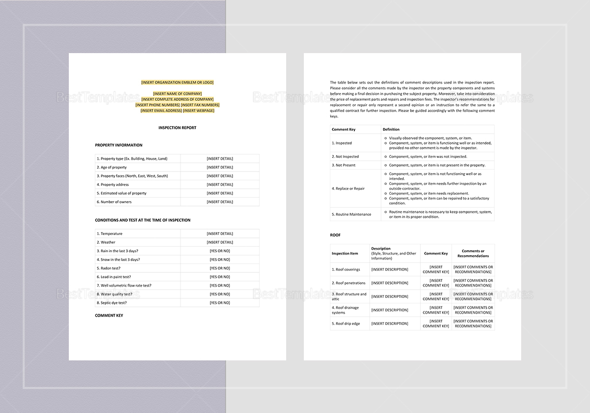 Editable Inspection Report Template