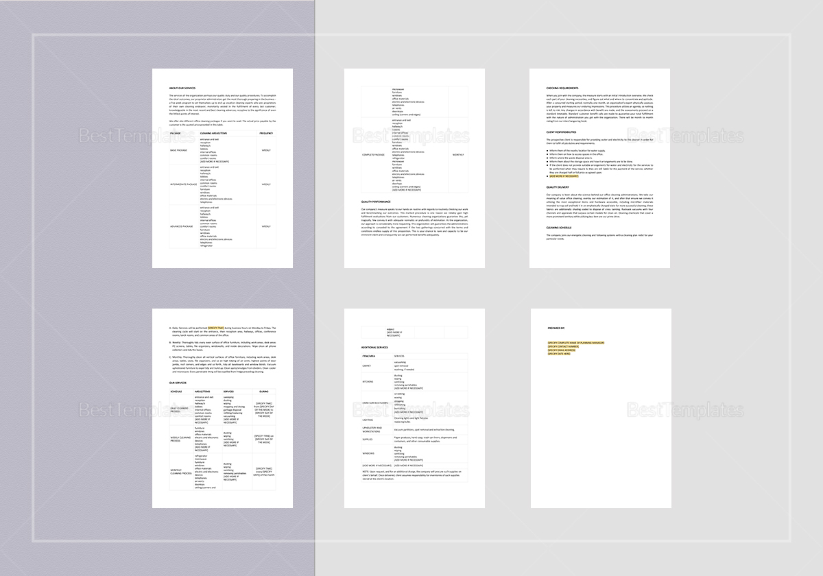 Editable Office Cleaning Proposal Template