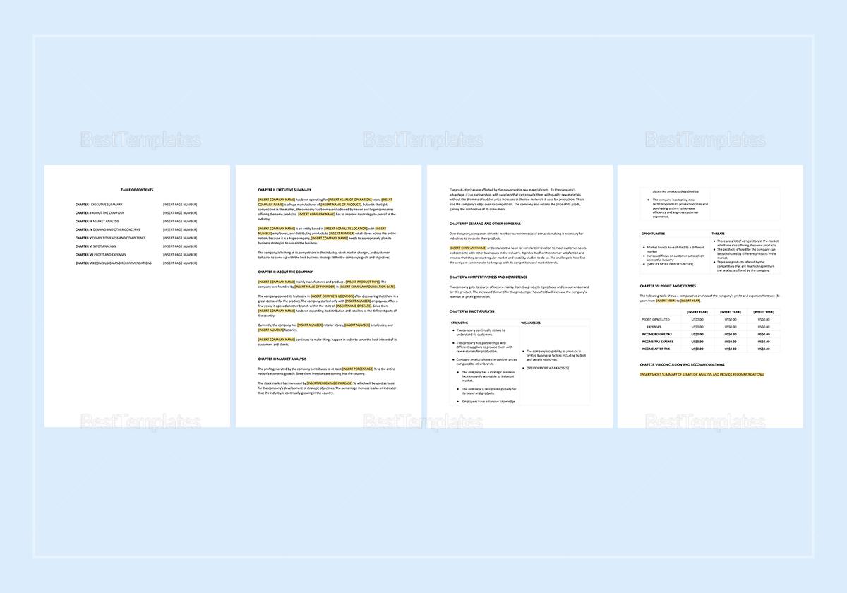 Strategic Analysis Report Template to Edit