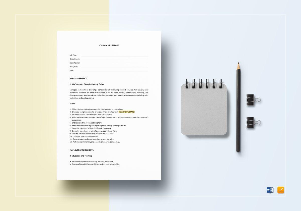 Job Analysis Report Template
