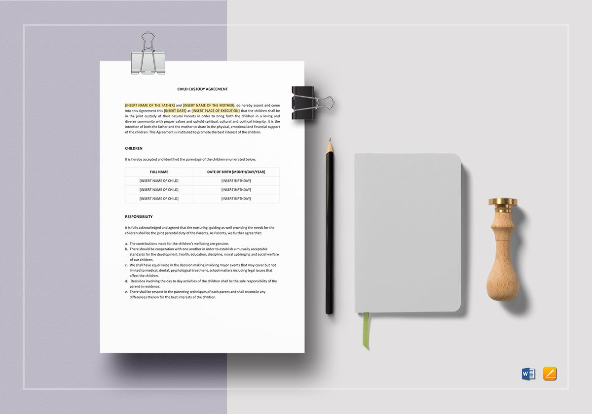 Child Custody Agreement Template In Word Apple Pages