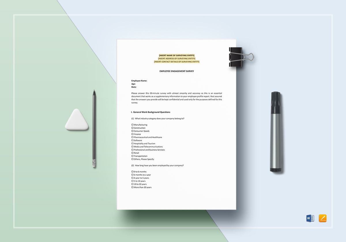 Employee Engagement Survey Template in Word, Apple Pages