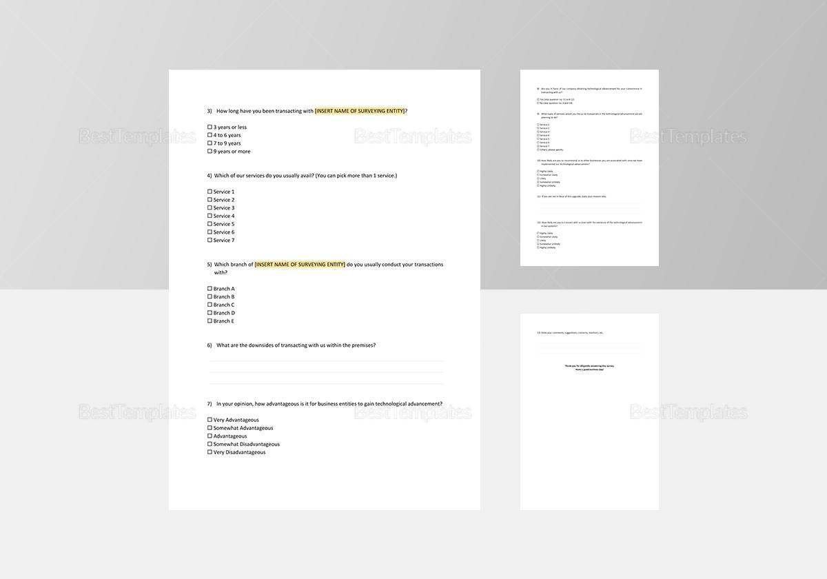 Sample Business Survey Template