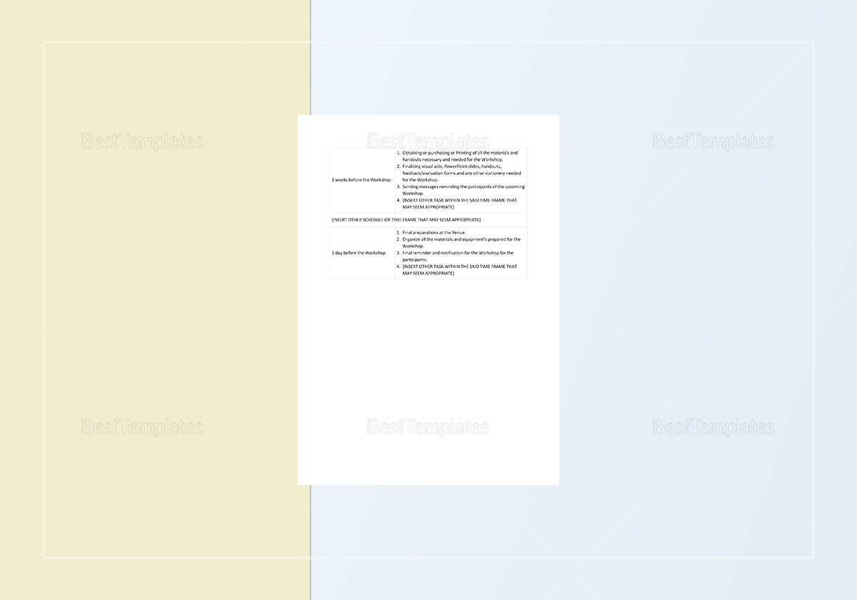 Workshop Planning Checklist Template to Edit