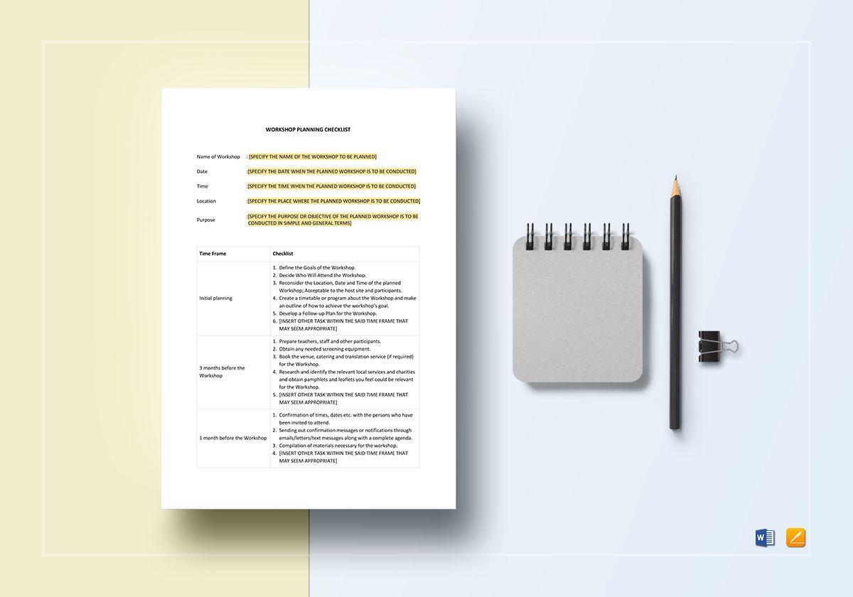 Workshop Planning Checklist Template