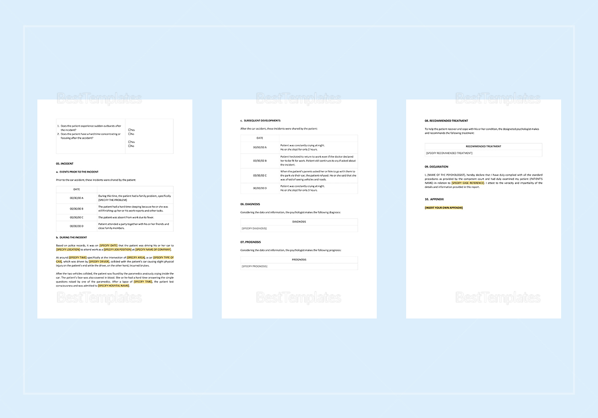 Psychological Report Template to Edit