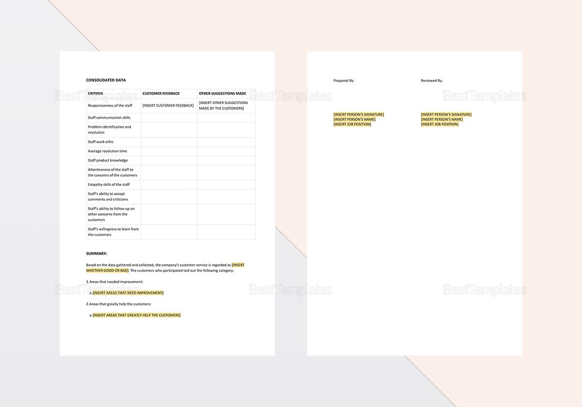 Sample Customer Service Report Template