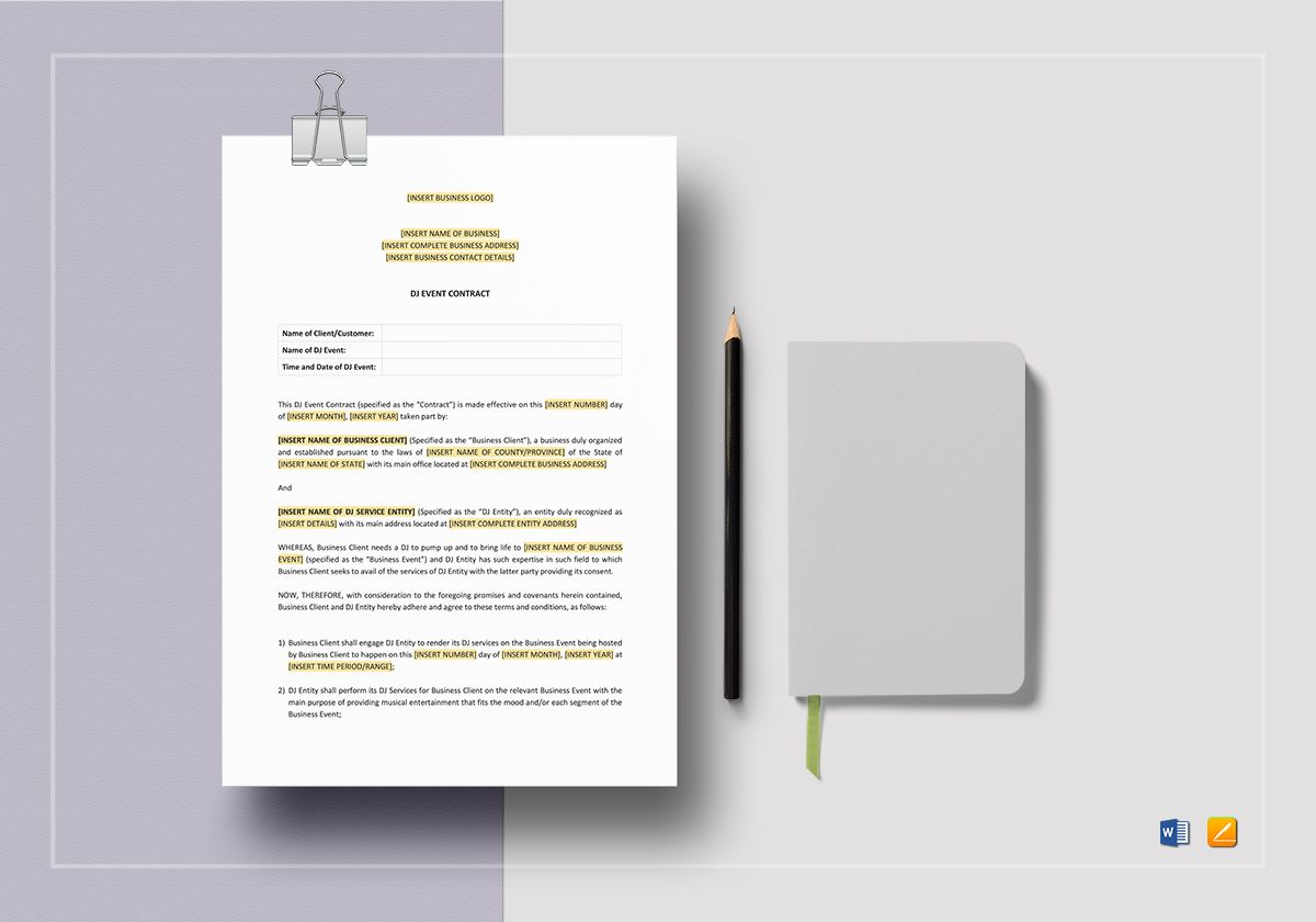 DJ Event Contract Template