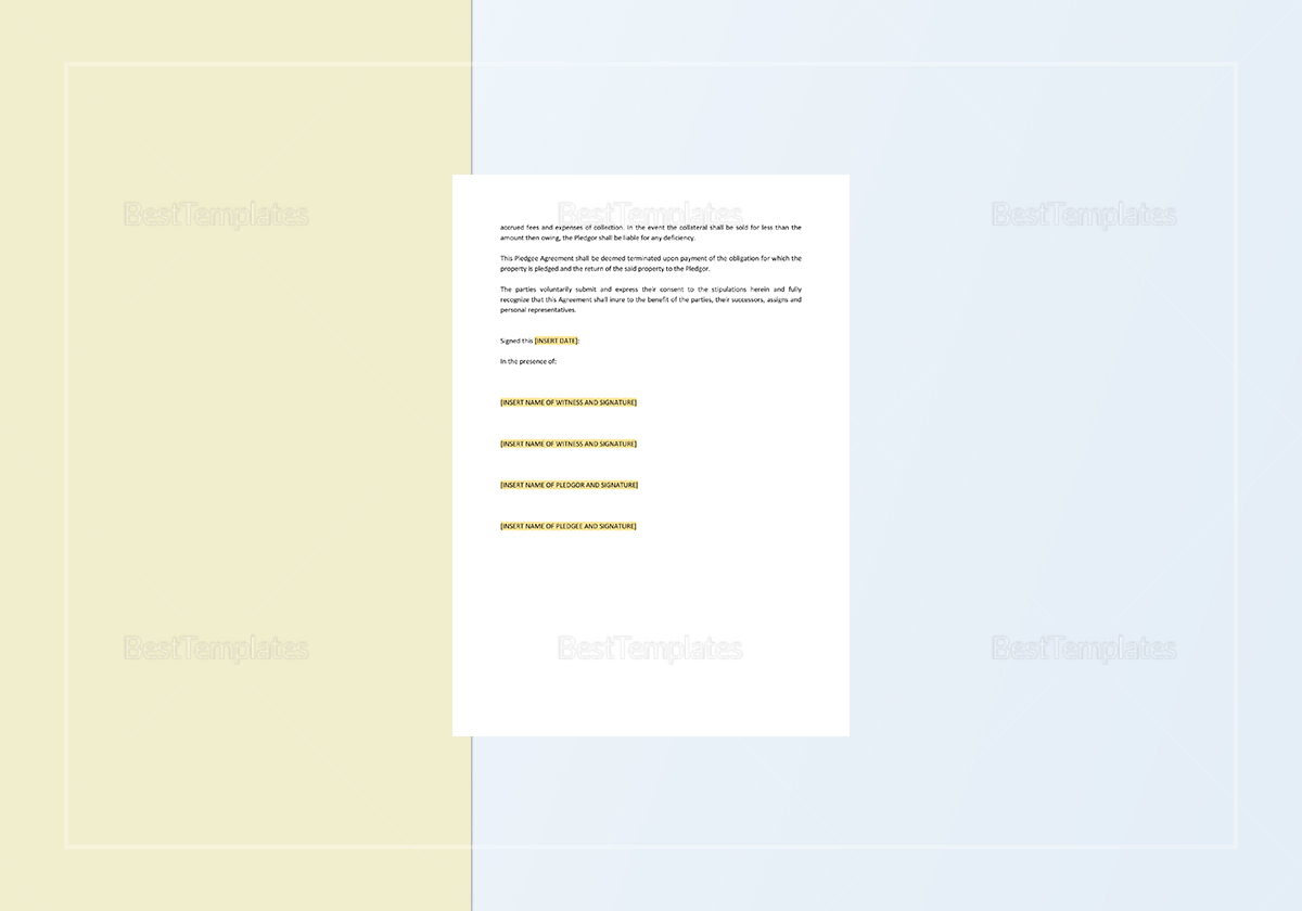 Sample Pledge of Personal Property Template