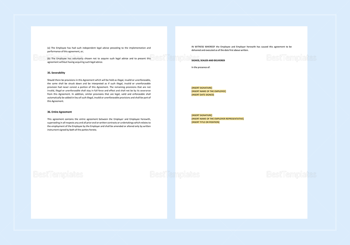General Employment Agreement Template to Print