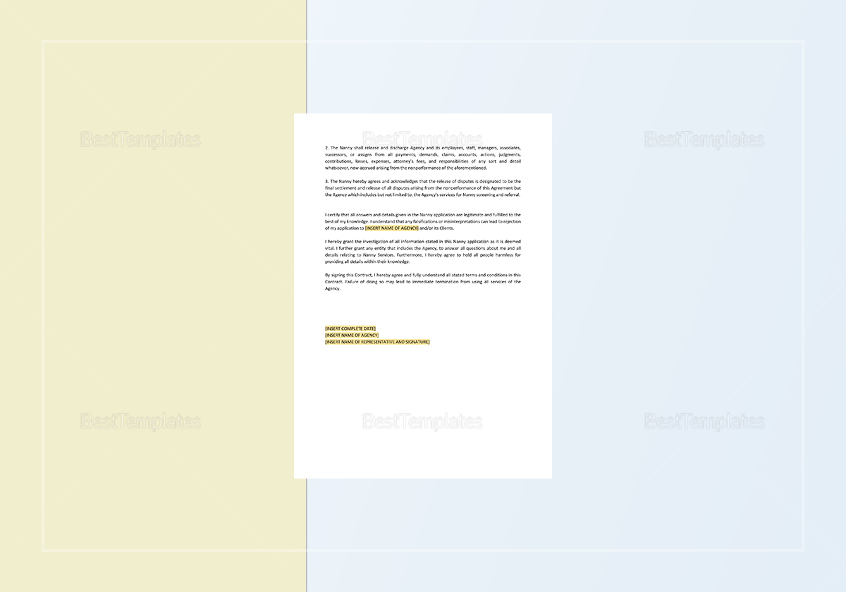 Nanny Contract Template to Edit