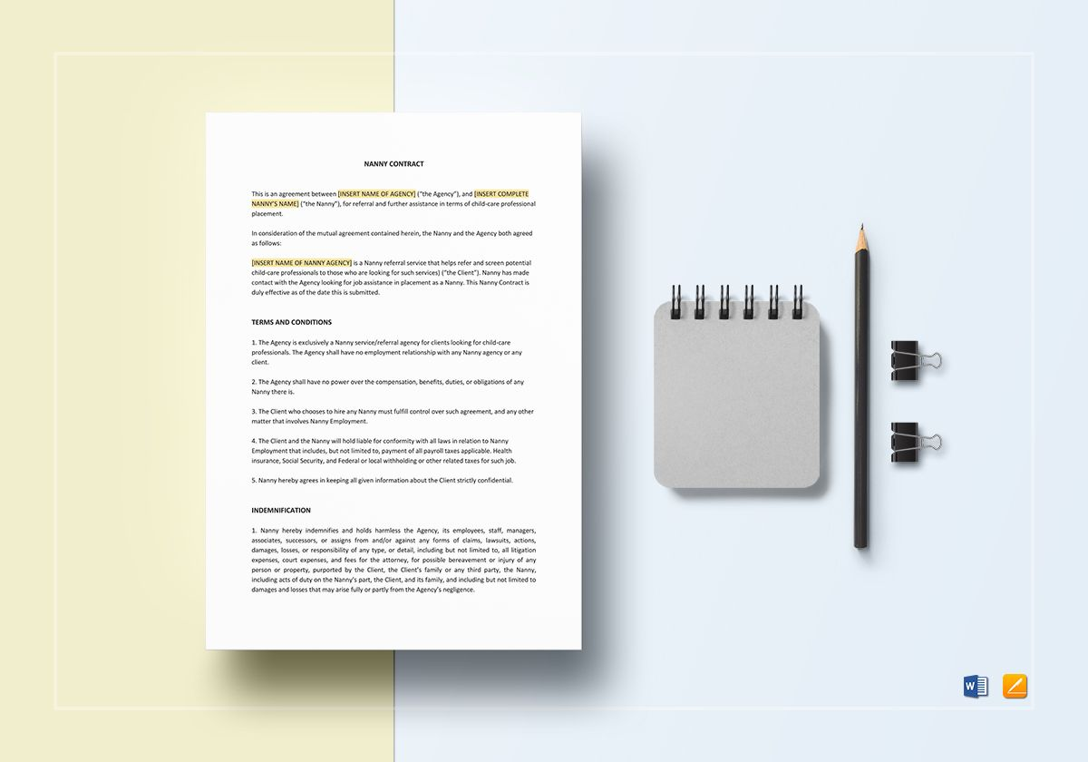 Nanny contract template in word apple pages nanny contract template maxwellsz