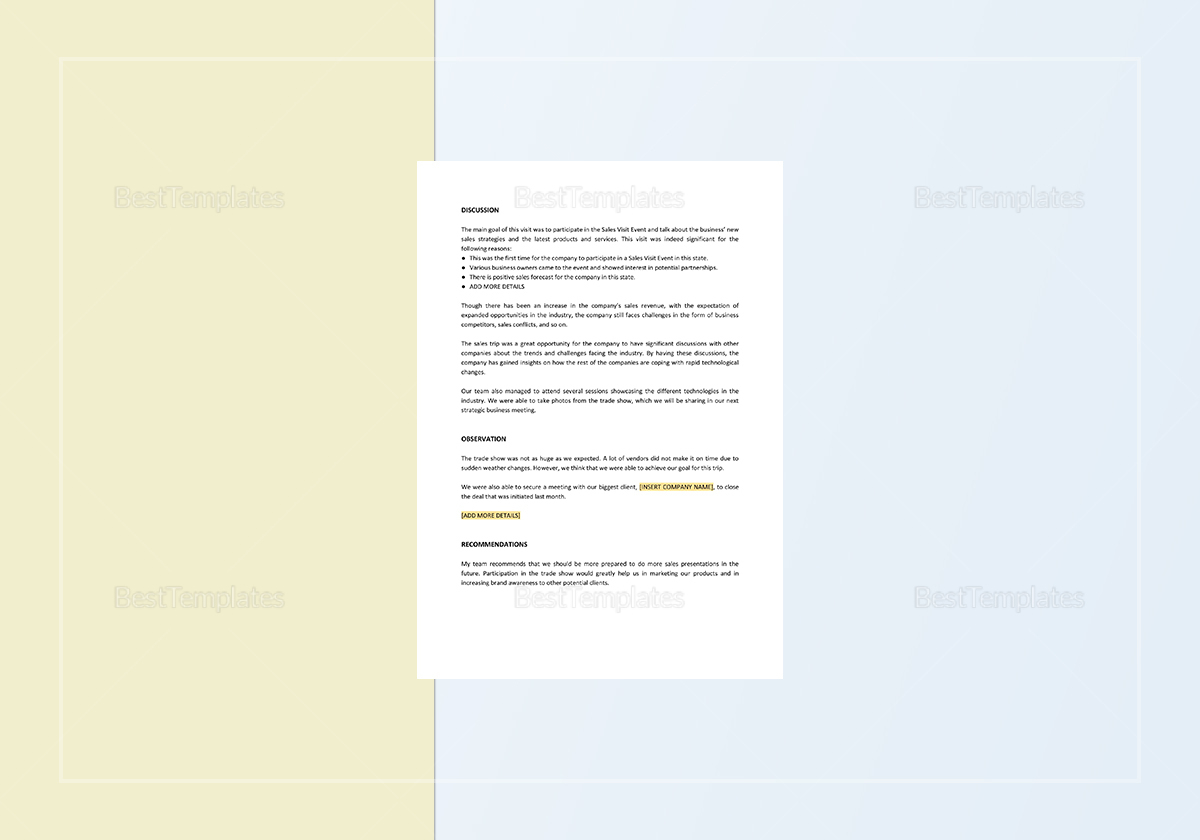 Sales Trip Report Template to Edit