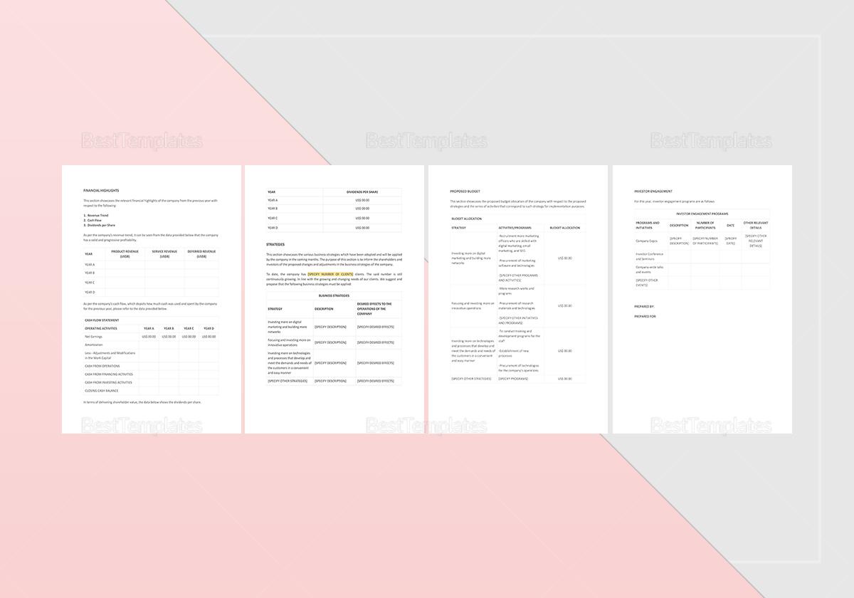 Sample Investor Relations Report Template