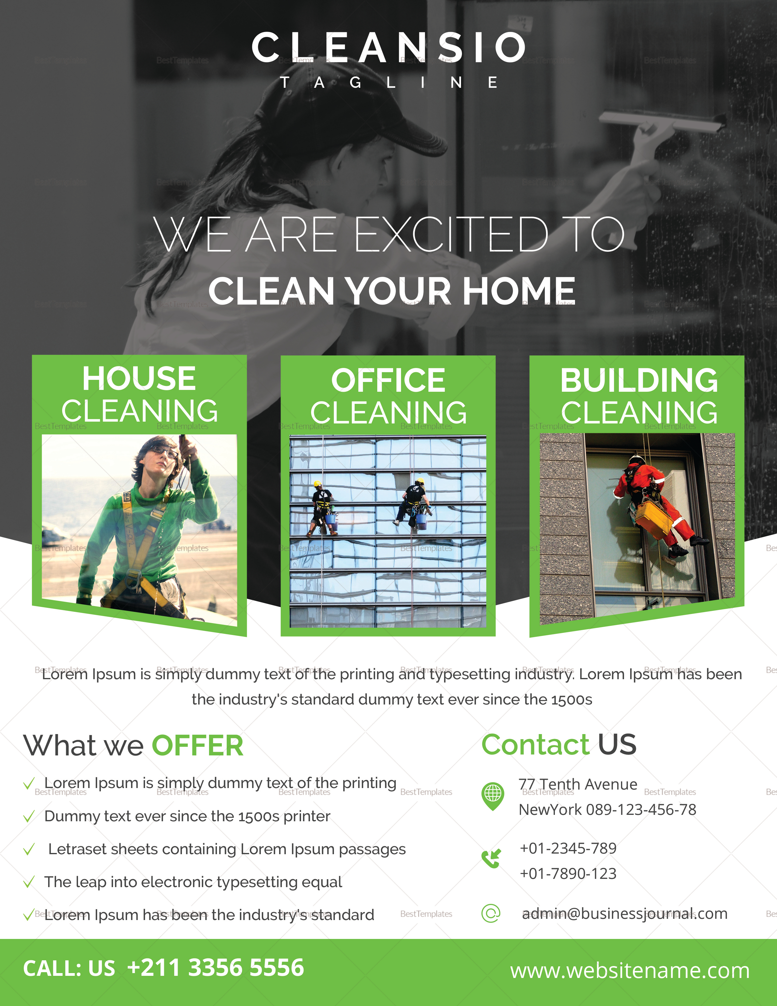 house cleaning flyer design template in word  psd  publisher