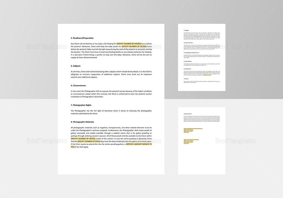 Newborn/Baby Photography Contract Template