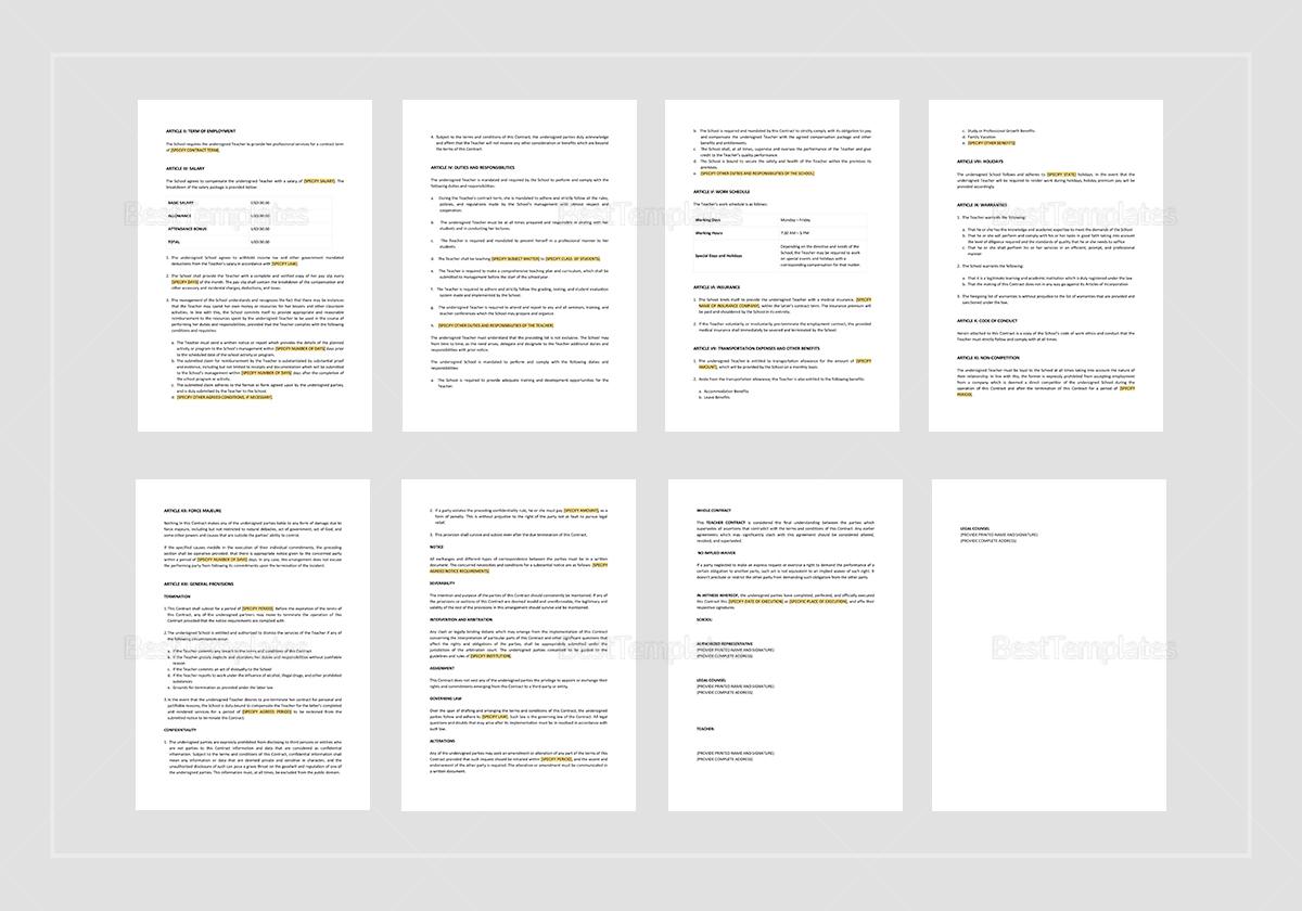 Printable Teacher Contract Template