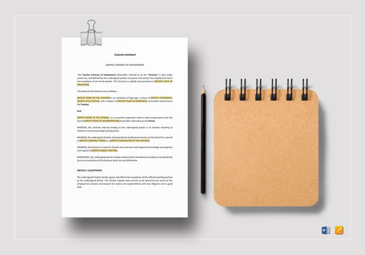 Teacher Contract Template