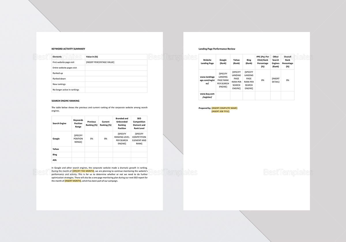 Sample SEO Report Template