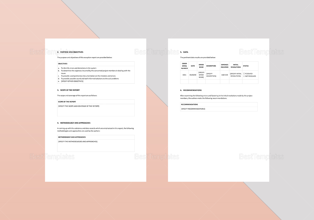 Editable Exception Report Template