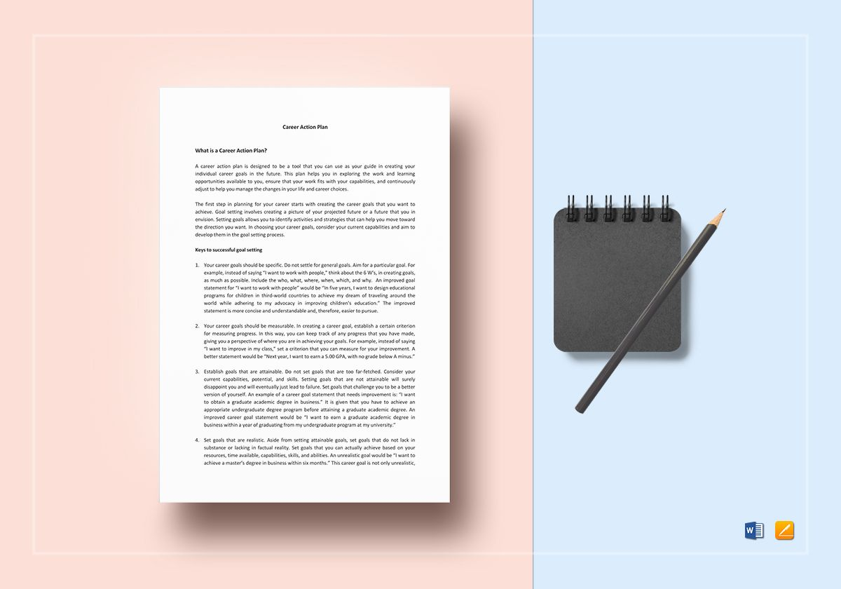 career action plan template in word apple pages