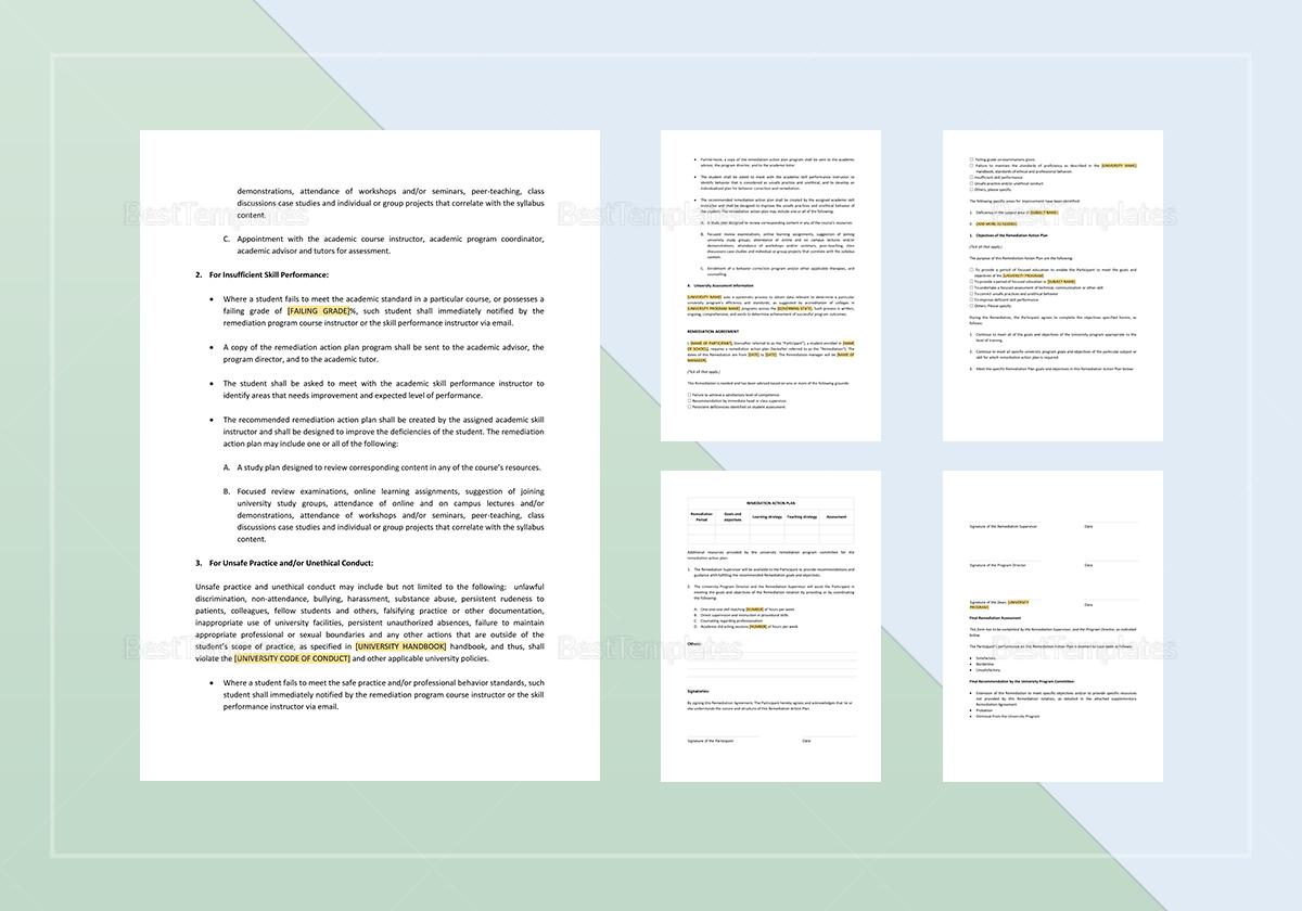 Remediation Plan Template to Edit