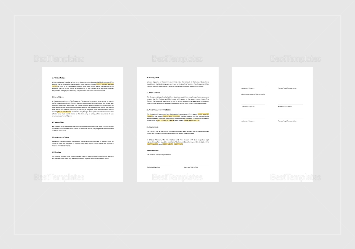Sample Film Investment Contract Template