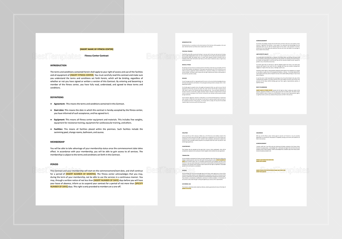 Fitness Centre Contract Template