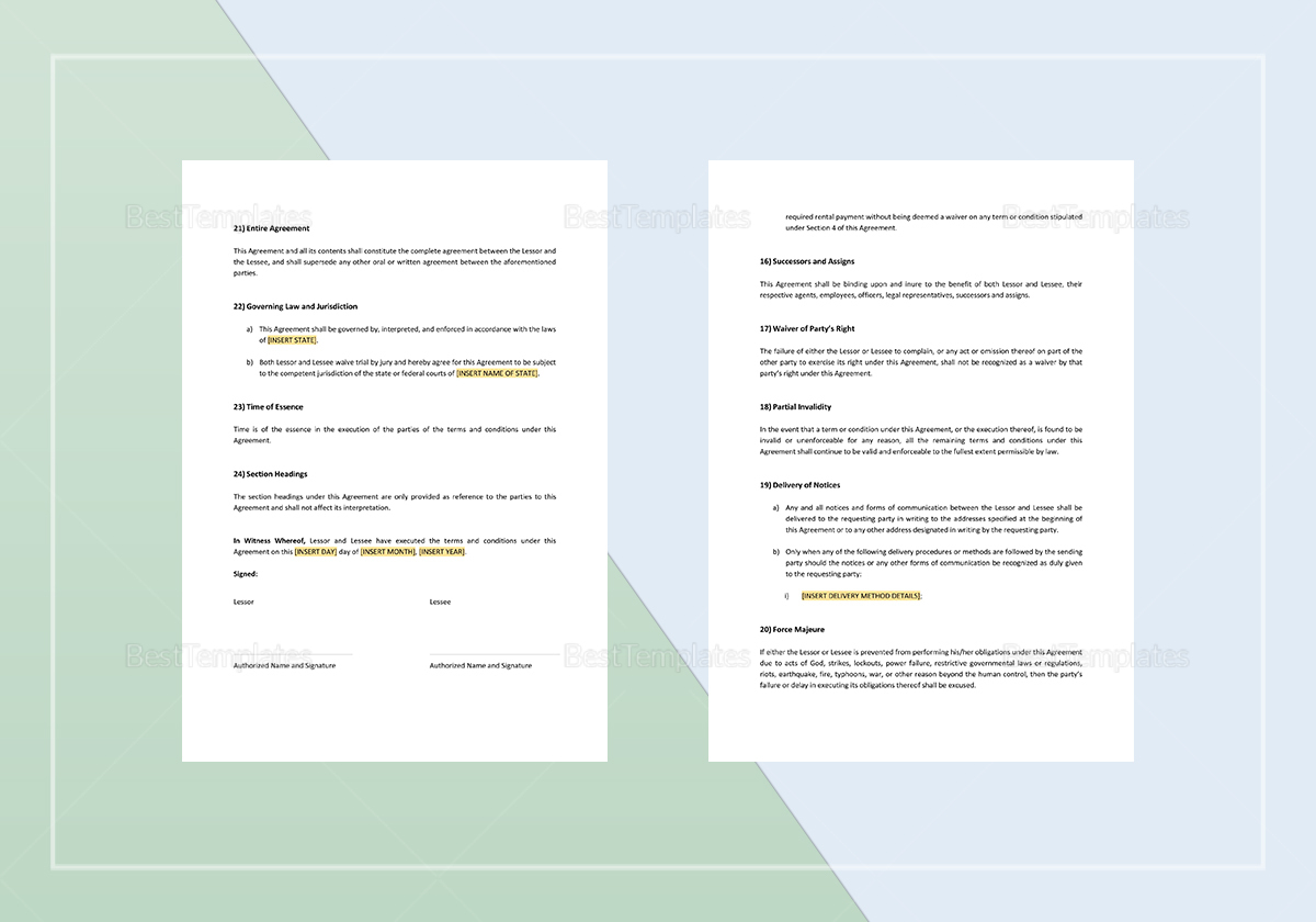 Sample Business Rental Agreement Template